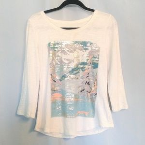 Anthropologie Postage Stamp Graphic Shirt S